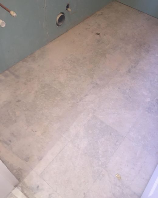Marble Tiled Bathroom Floor Before Restoration Walkerburn