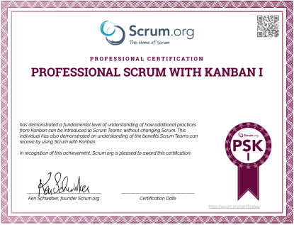 Professional Scrum With Kanban I PSK I Certificate