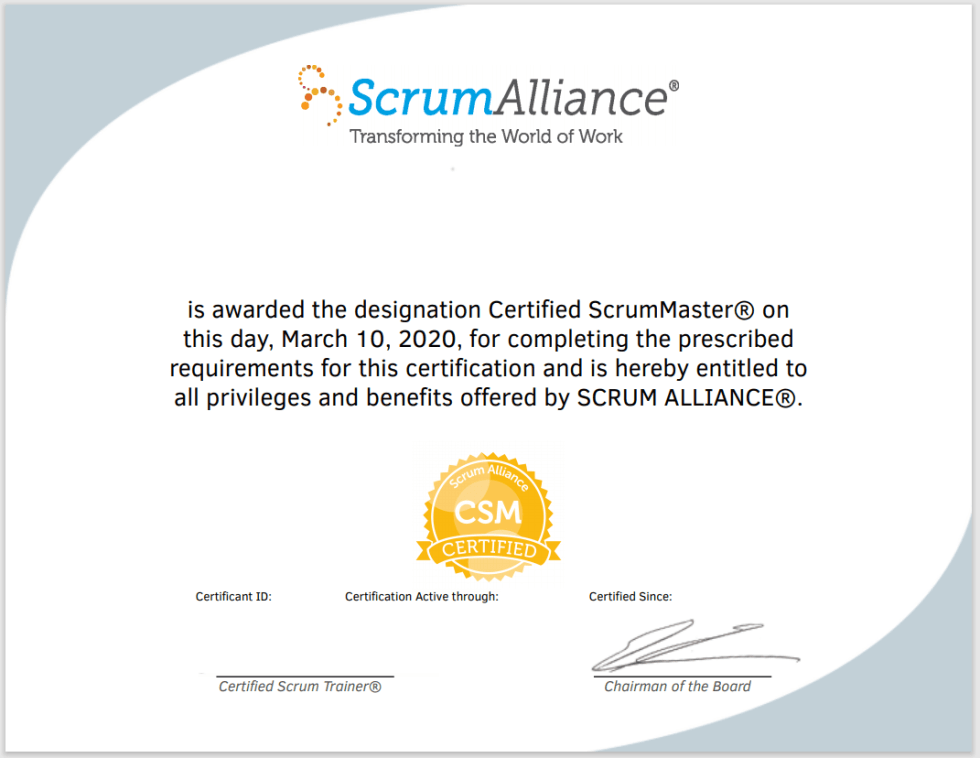 Certified ScrumMaster Certificate