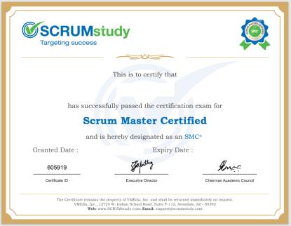 Scrum Master Certified (SMC) Certificate