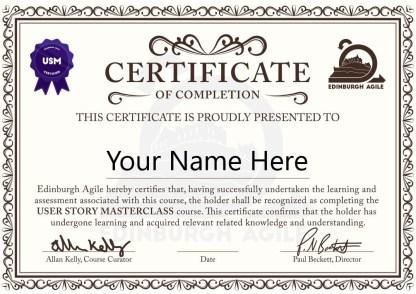 User Story Masterclass (USM) Certificate