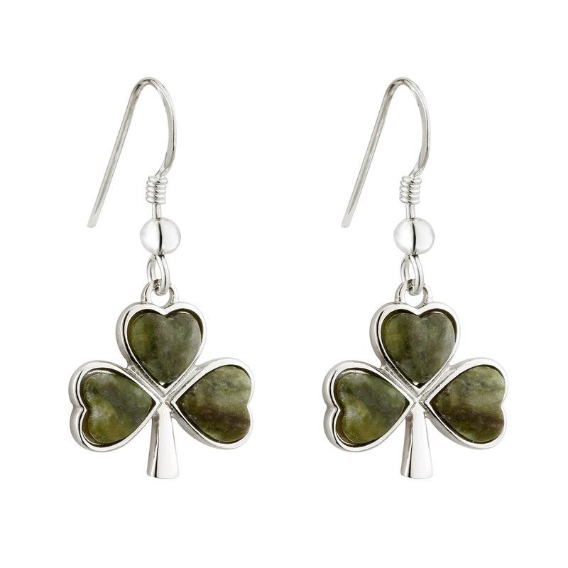 Rhodium Connemara Marble Shamrock Earrings