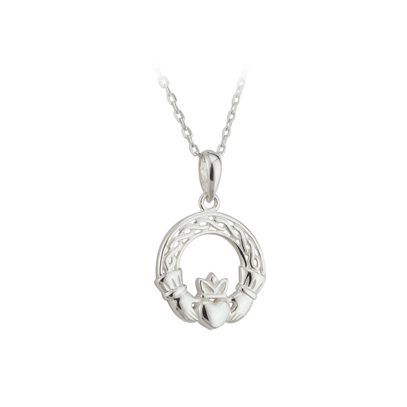 Silver Celtic Knot Claddagh Pendant