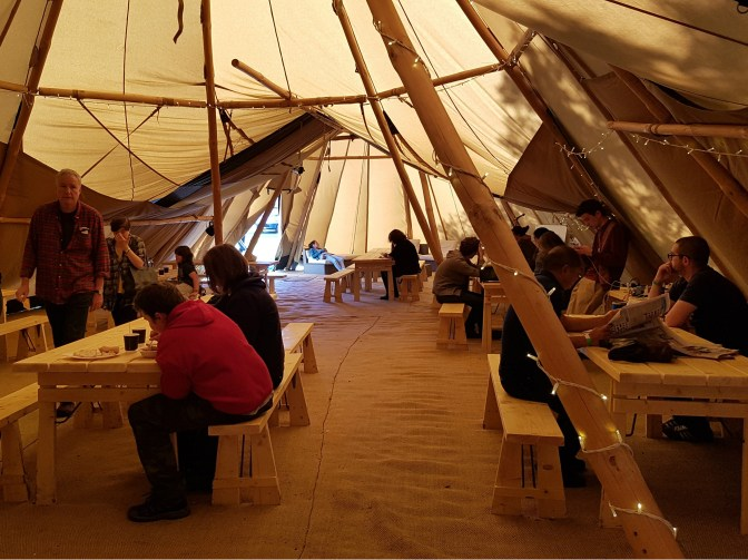 Inside our Giant Tipis at Breakfast!