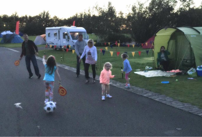 Fun Family times and game playing at Edinburgh Festival and Fringe Camping