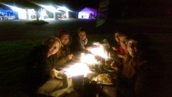 Our 2016 volunteers enjoy an evening meal