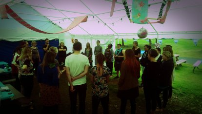 Verity Standen Group HUG rehearsals in the big marquee