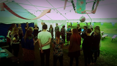 Verity Standen Group HUG rehearsals in the big marquee, 2015