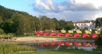 Pre-Pitched Tents in front of the Lake!