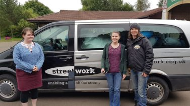 Streetwork collecting sleeping bags donated by Project ReCamp!