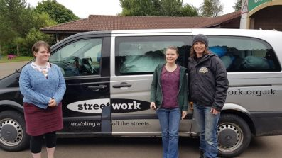 Homelessness charity Streetwork collecting sleeping bags donated by Project ReCamp!