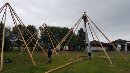 Putting up the Giant Tipis to create the cafe, bar and Fringe Venue