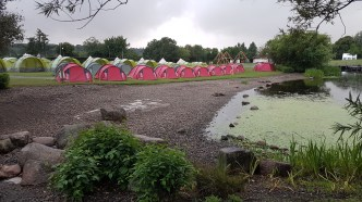 The Pre-Pitched and Bell Tent area from the lake