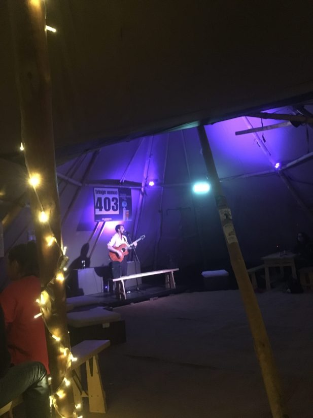 A musician taking to our Edinburgh Fringe Venue 403 stage - Edinburgh Festival Camping