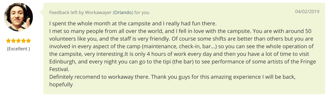 Edinburgh Festival Camping volunteer review November 2018