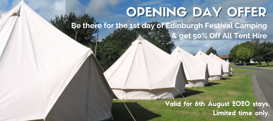 50% OFF bell tent hire for stays on 6th August 2020. Limited time only.