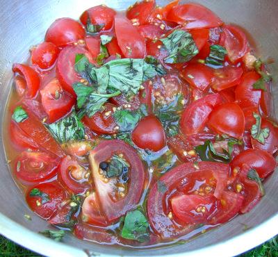 Preparing the tomato essence