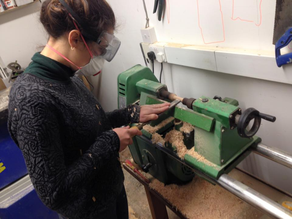 Using the wood lathe at the Forge