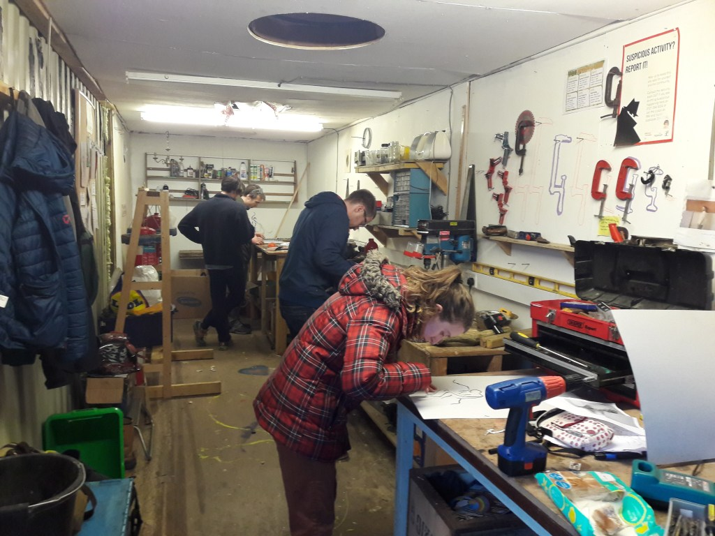 Busy in the wood workshop at the Forge