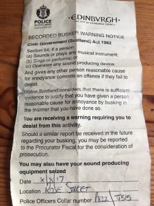 Notice From Police Banning Amplification at Edinburgh Fringe