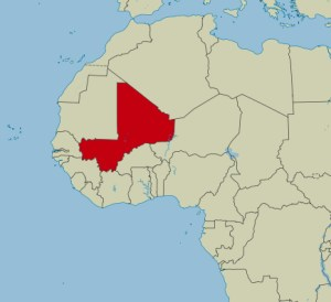 Mali is situated in western Africa. Rebels supported by Islamic extremists seized the north eastern part in 2012. The capital Bomoko where the attack is taking place is in the south western corner of the country. Map courtesy of Wikimedia commons.