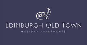 Logo for Edinburgh Old Town Holiday Apartments in deep purple with paisley pattern