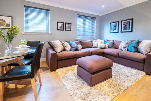 stylish comfortable living and dining room blues and neutrals holiday apartment edinburgh