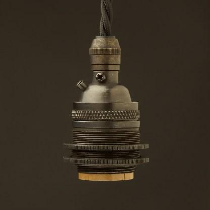 Bronze E26 120V Cordgrip Pendant socket Barrel two rings
