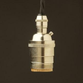 Nickel PlaNickel Plate E26 120V Cordgrip Pendant socket UNO threadte E26 120V Cordgrip Pendant lampholder no shade rings