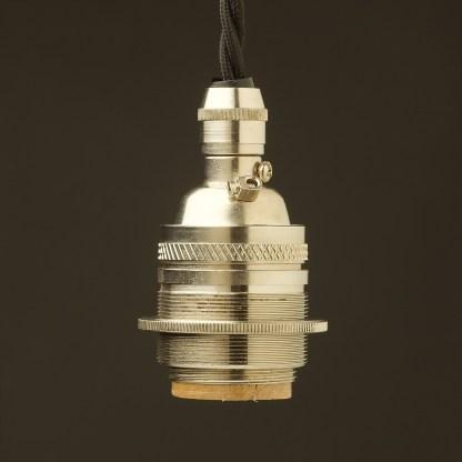 Nickel Plate E26 120V Cordgrip Pendant socket Shade ring Barrel one ring