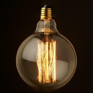 Vintage Edison fancy round tungsten filament bulb 125mm E26