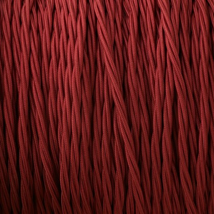Cloth covered braided 3 core lighting Flex 120V burgandy