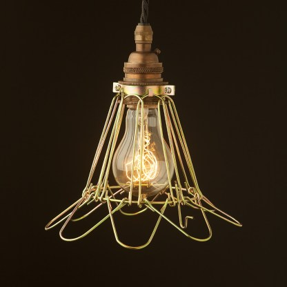 Brass socket wire cage pendant