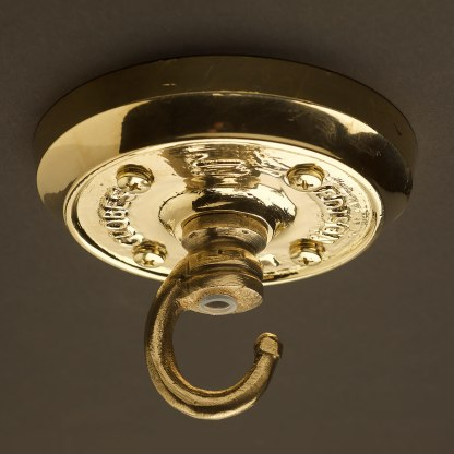 Polished Cast brass chain hook ceiling plate