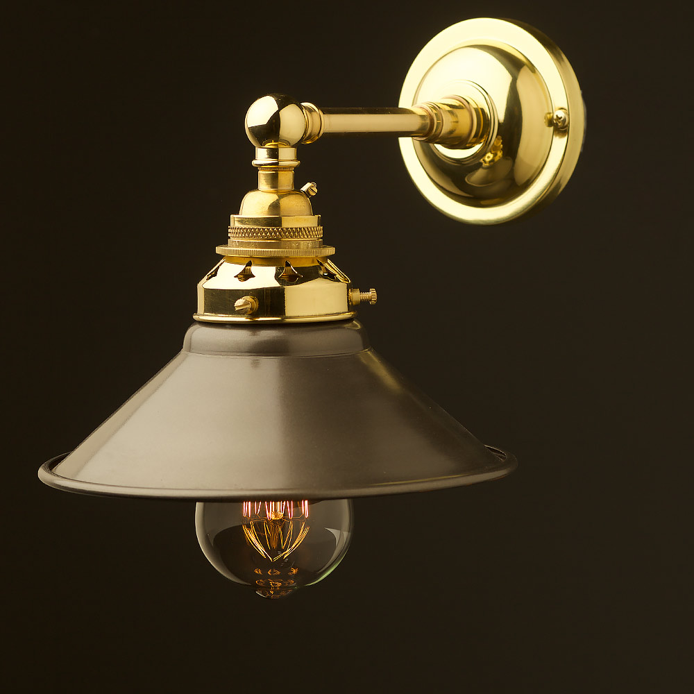 New Brass Straight arm wall sconce shade on Brass Wall Sconces Non Electric Lighting id=81397