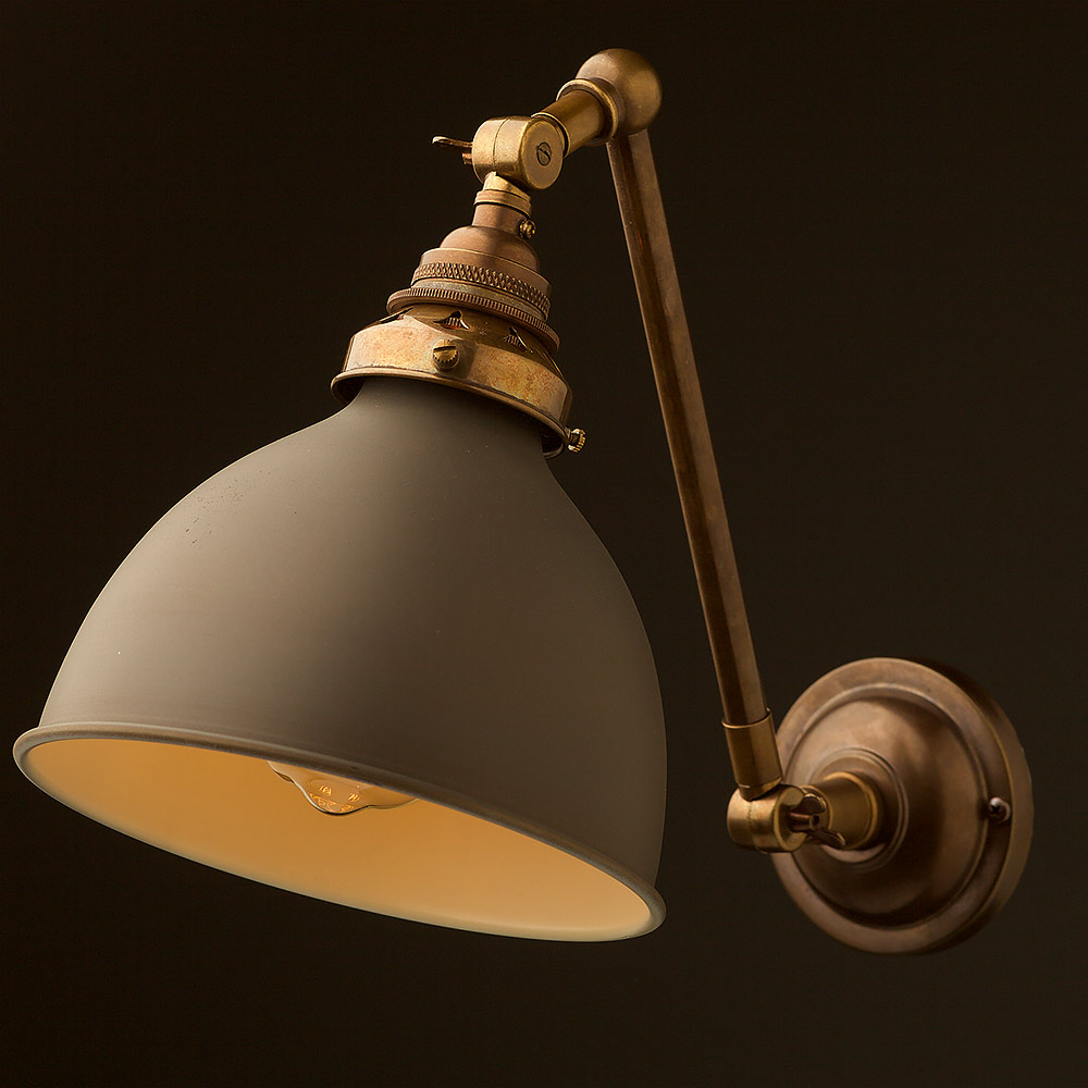 Antique brass Adjustable arm wall sconce shade on Brass Wall Sconces Non Electric Lighting id=32913