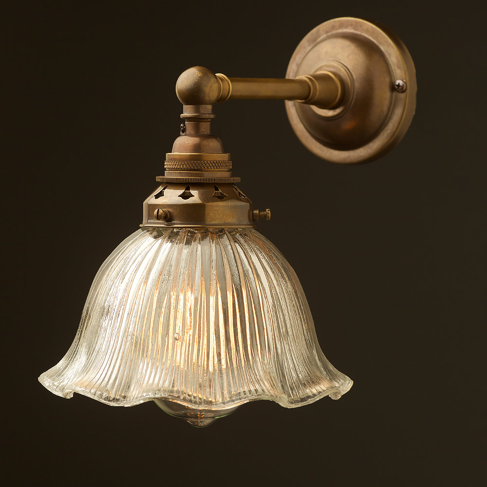 Antique Brass Straight arm wall sconce shade on Vintage Wall Sconces id=61182