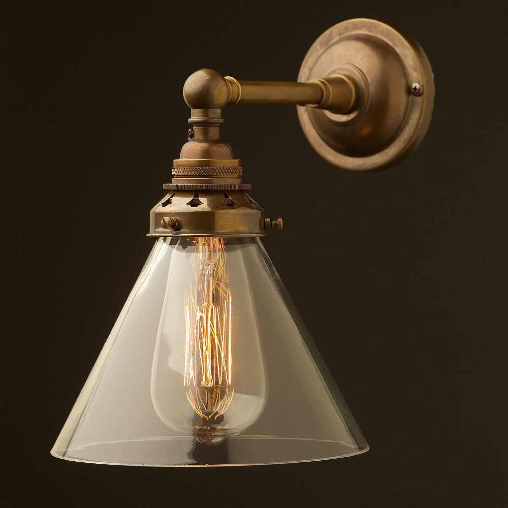 Antique Brass Straight arm wall sconce shade on Brass Wall Sconces Non Electric Lighting id=39490