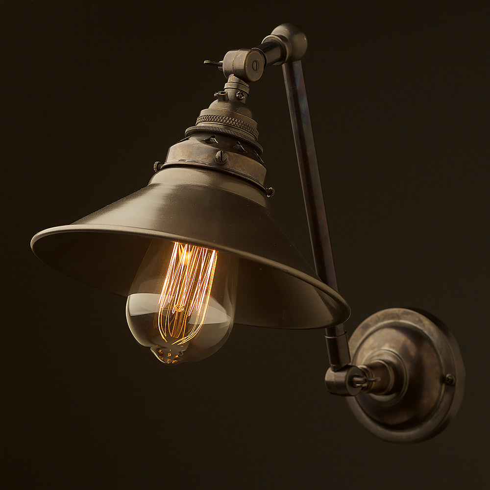 Bronze Adjustable arm wall sconce shade on Brass Wall Sconces Non Electric Lighting id=78420