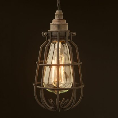 Enclosed Light Bulb Black Crackle Cage Fitting