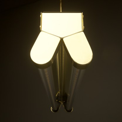 Polished Brass Art Deco Twin LED Tube Light clear off