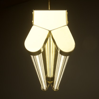 Polished Brass Art Deco Twin LED Tube Light clear end
