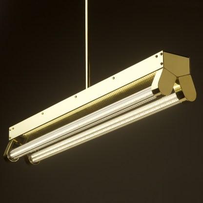 Polished BraPolished Brass Art Deco Twin LED Tube Light clear sidess Art Deco Twin LED Tube Light side
