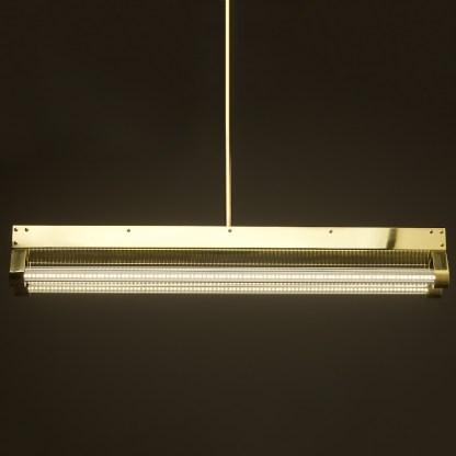 Polished Brass Art Deco Twin LED Tube Light clear side