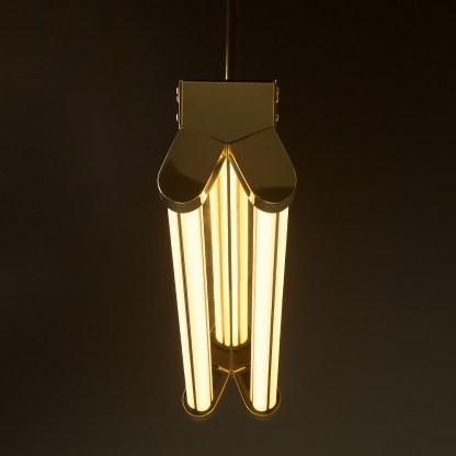 Polished Brass Art Deco Twin LED Tube Light translucent end