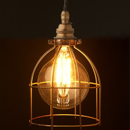 Antiqued G125 Bulb Cage Pendant