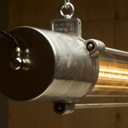 Vintage glass explosion proof cast aluminum light
