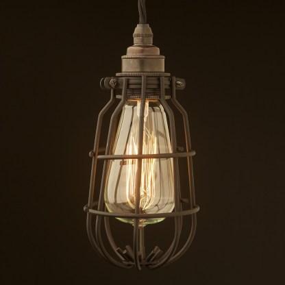 Enclosed Light Bulb Flat Black Cage Fitting