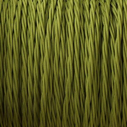 Fabric Covered Braided 3 Core Lighting Flex Cypress Green