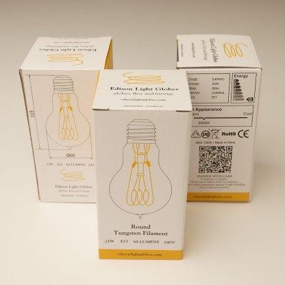 Vintage Edison standard round filament bulb